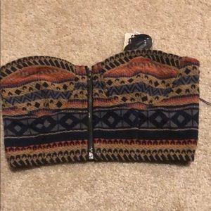 Forever21 tribal print zipper crop top